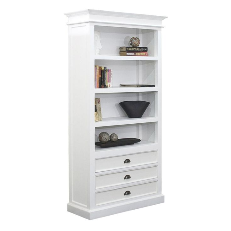 Halifax White Mahogany Bookcase with 3 Drawers - 814495011997