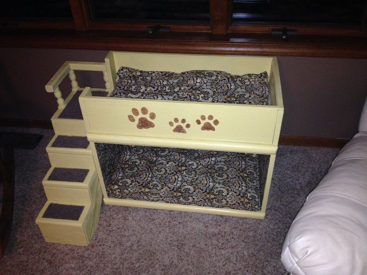 Repurposed tv stand. Indoor dog bed with loft.