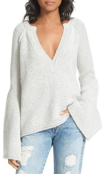 Love, love, love this. Casual, sexy, deep V-neck, Bell sleeves, winter white sweater. - Free People Lovely Lines Bell Sleeve Sweater. Get it here > https://api.shopstyle.com/action/apiVisitRetailer?id=543671099&pid=uid8025-34776805-65