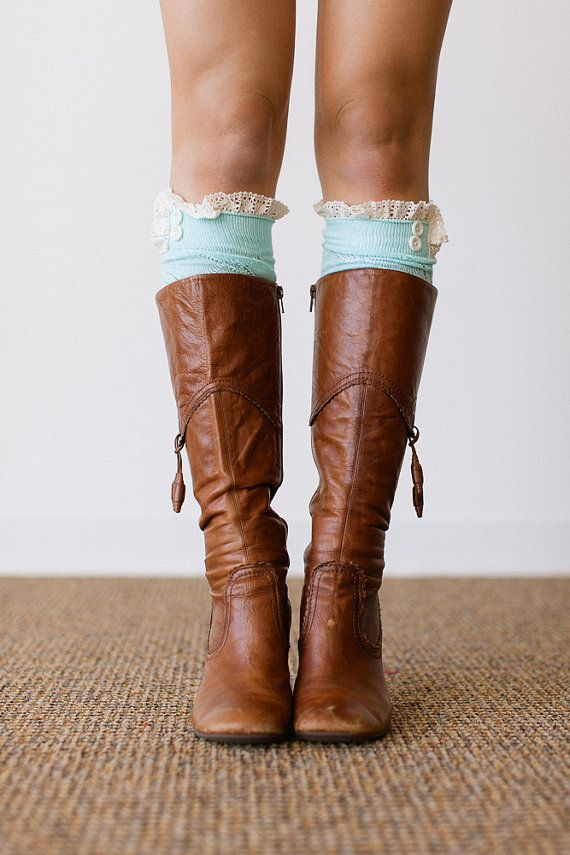 MINT Lace Boot Socks Stretchy Over the Knee Knit Boot Socks With Lace Ruffle and Buttons Womens Fashion LegWear (BS-110A)
