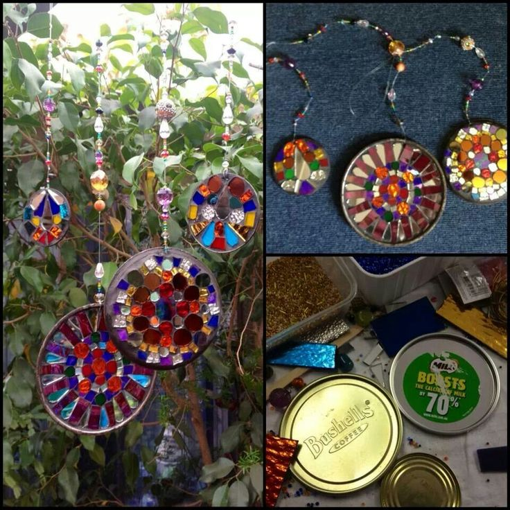 Use old mason jar lids to mosaic