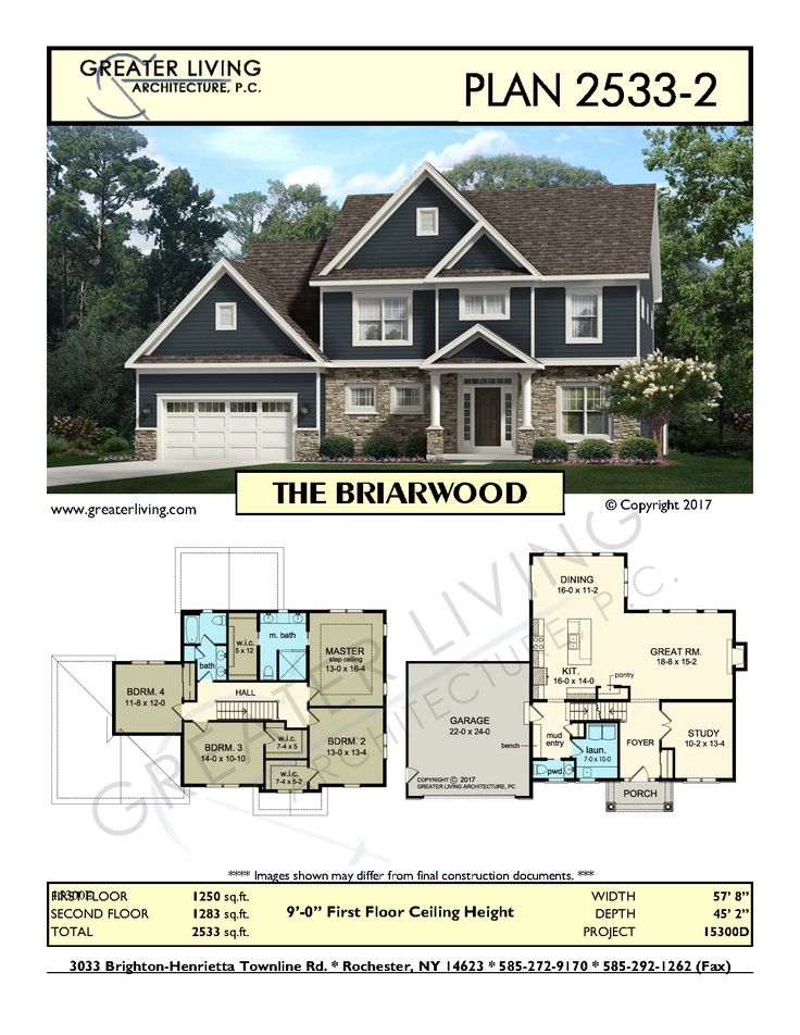 Plan 2533-2: THE BRIARWOOD- Two Story House Plan - Greater Living Architecture - Residential Architecture