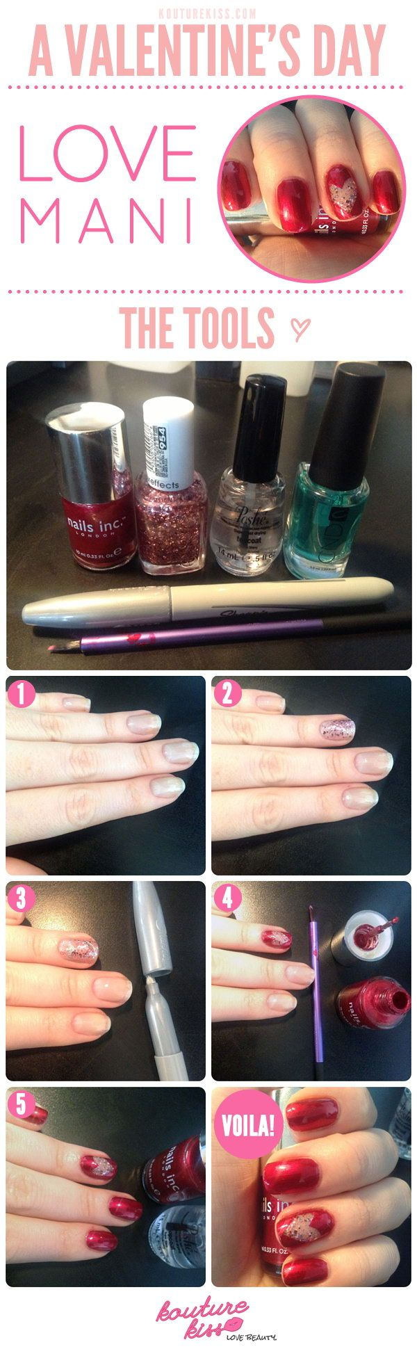 DIY Valentines Manicure, http://hative.com/step-by-step-heart-nail-art-designs-for-valentines-day/