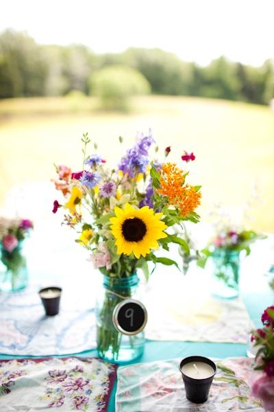 sunflower and wildflowers centerpiece