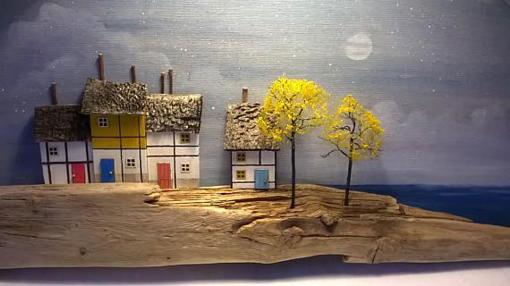 Drijfhout huis kunst miniatuur houten huizen Diorama