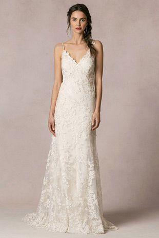 Briana from Jenny Yoo wedding dresses2016 -Spagatti strap,slip gown with re embroidered lace and a deep v-neckline - see the rest of the collection on www.onefabday.com