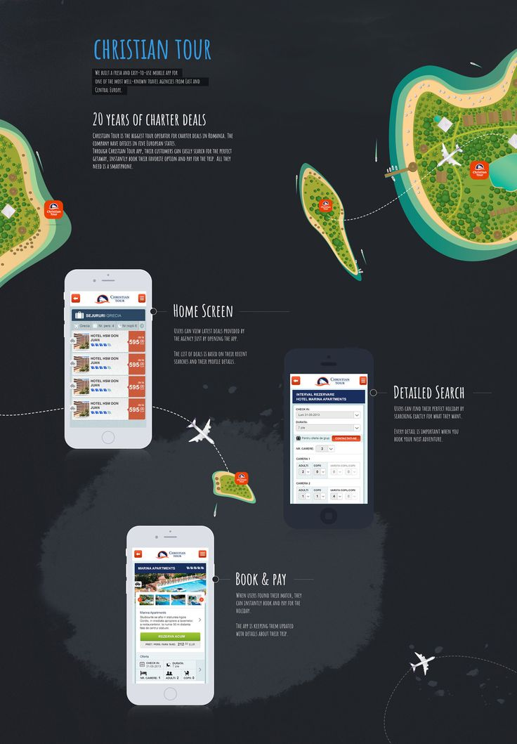 We built a fresh and easy-to-use mobile app for one of the most well-known travel agencies from East and Central Europe.   Christian Tour is the biggest tour operator for charter deals in Romania. The company have offices in five European states.  Dan Buruiana: Art Director