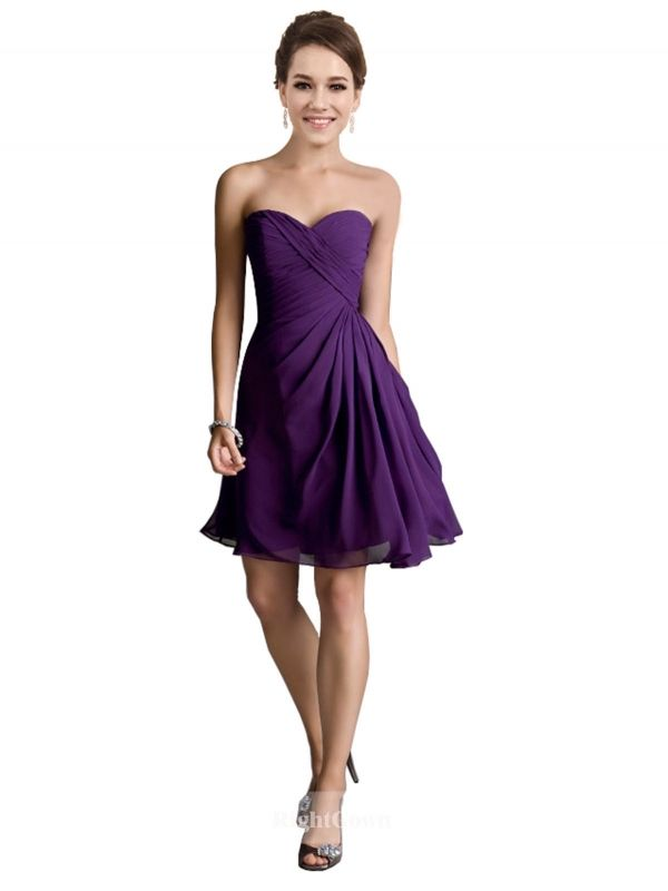 Cheap Right Gowns 2018 New Style Strapless Sweetheart Short Knee Length Chiffon Purple Strapless Bridesmaid Dresses 172037, Right Bridesmaid Dresses, Cheap Bridesmaid Dresses and Buy Discount Bridesmaid Dresses2018