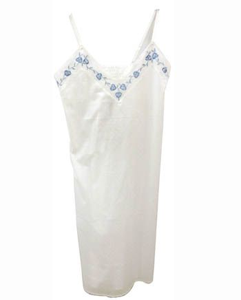 Nora-Rose by cyberjammies White Clip Jacquard Strappy Embroidered Long Nightdress