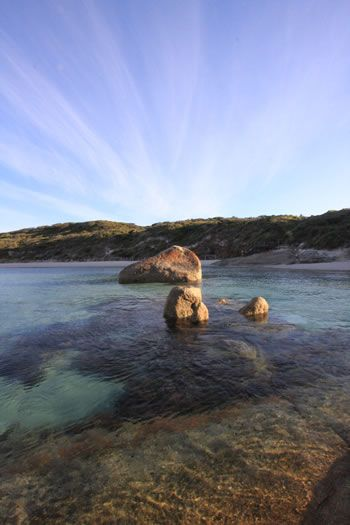 Greens Pool, William Bay National Park, Denmark, Western Australia.  Morning view of the Denmark portion of the Bibbulmun Track
