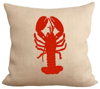 Reb Lobster burlap pillow by Fiber and Water on Houzz || home decor, toss pillow, burlap art, living room, kitchen