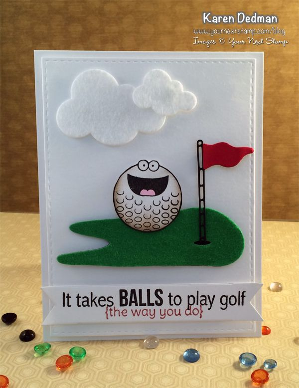 YNS Supplies used to create this Tee Time Card:  Golf Green die set, Tee Time stamp set, Fishtail Banner Two die set, Puffy Cloud die set, Stitched Rectangle die set  #yournextstamp