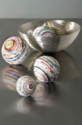 Recycled Paper Spheres - could be neat Christmas ornaments