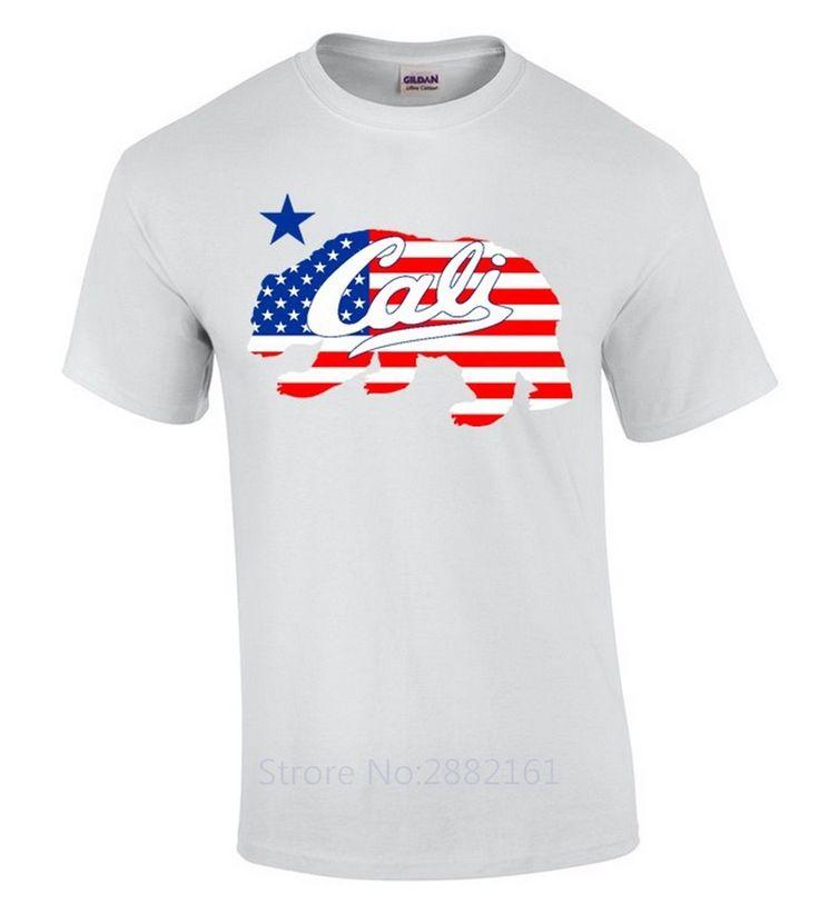 >> Click to Buy << Cali USA Flag Bear T-SHIRT California Republic 4th Of July American CA Shirt New Metal Short Sleeve Casual Shirt #Affiliate