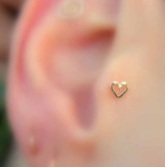 Tragus/Nose Ring/Cartilage Earring 14K Yellow Gold Filled Valentine Heart on Etsy, $10.95