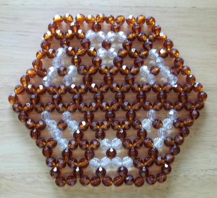 Unique Beaded Brown Clear Hexagon Trivet in Excellent Condition | eBay