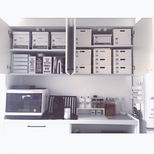 yumekana77さんの、ラガハウス,IKEA,セリア,シンプル 白,ダイソー,White×gray,mon・o・tone,雑貨,モノトーン,ニトリ,シンプルモダン,シンプル,パナソニックキッチン,100均,カップボード,カップボードの上,収納,収納ケース,キッチン収納,収納勉強中,キッチン,のお部屋写真