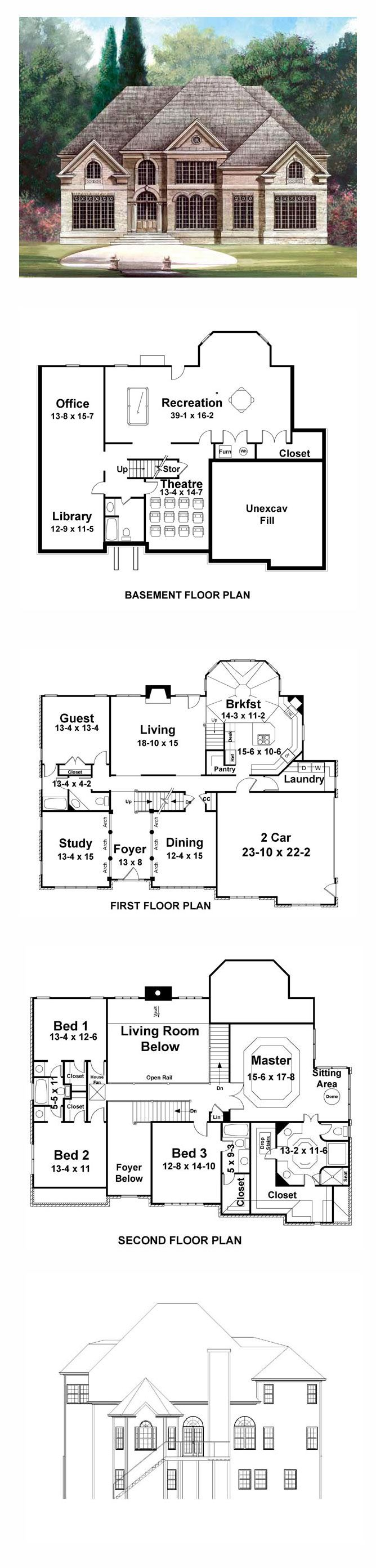 Greek Revival House Plan 72025   Total Living Area: 3254 sq. ft., 5 bedrooms and 4 bathrooms. #greekrevivalhome