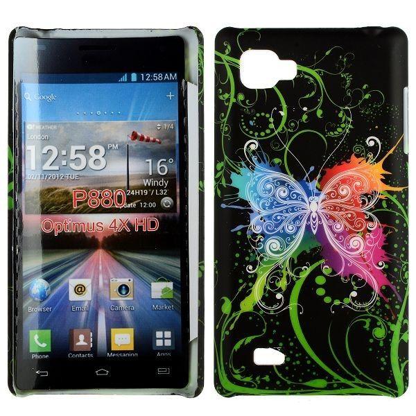 Valentine (Sentrert Regnbue Sommerfugl - Sort) LG Optimus 4X HD Deksel