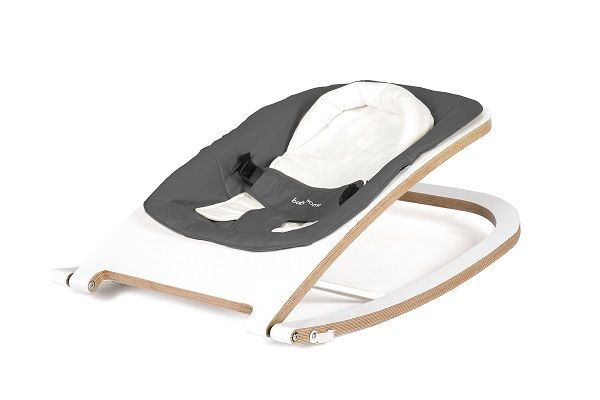 Babyhome Wave Wooden Rocker White/Graphite #PishPoshBaby #blackandwhite