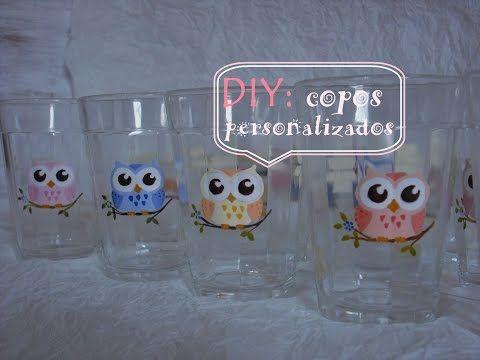 DIY: copos de vidro personalizados com corujinha - BLOG: Decora Inova - YouTube