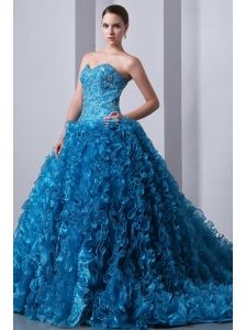 Sky Blue A-Line / Princess Brush Train Beading and Ruffles Quinceanea Dress Sweetheart Organza