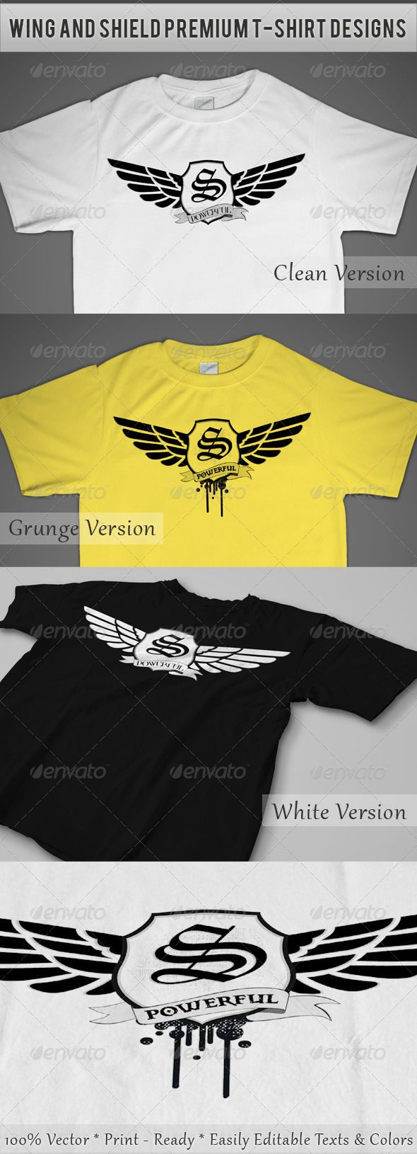 Wing and Shield Premium T-Shirt Designs - DOWNLOAD NOW