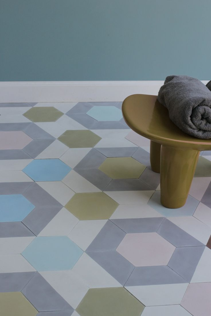 Popham dem hex handmade tile. Demi hex has many available pattern variations and colours . Can be installed to suit all types of spaces .