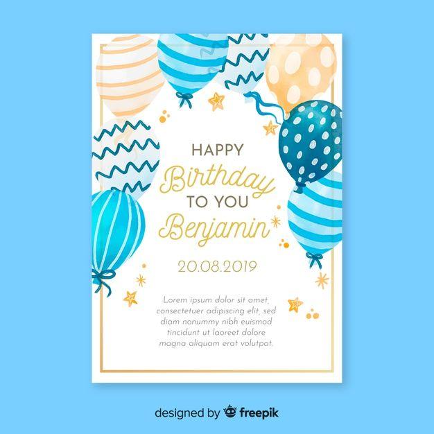 Watercolor Birthday Invitation Card Temp Free Vector Freepik Freevect Birthday Invitation Card Template Invitation Card Format 40th Birthday Invitations