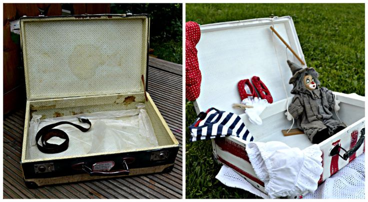 Painted vintage suitcase inside before-after