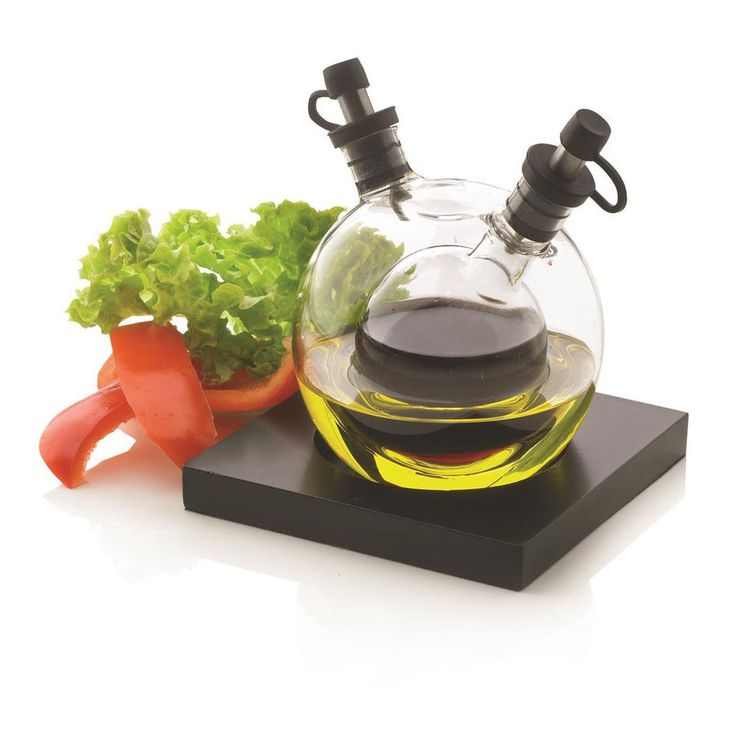 New XD Design Orbit Oil & Vinegar Blown Glass Dispenser Globe Bottle Set