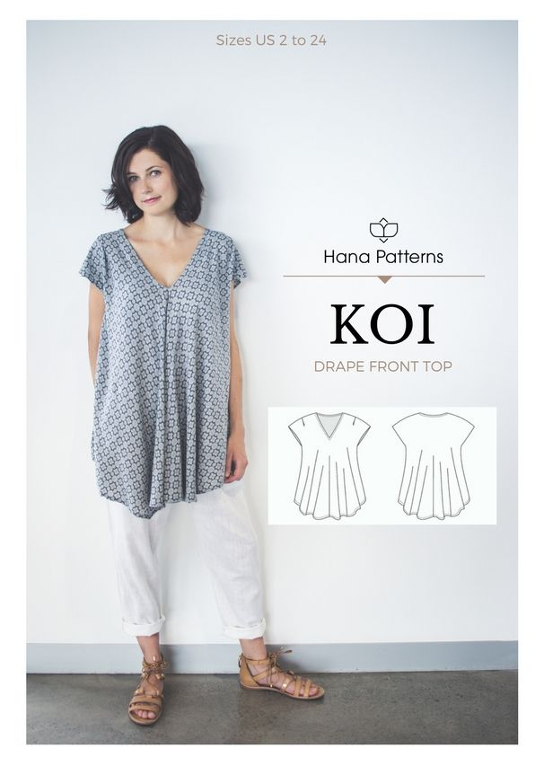 Chic Sewing Pattern for Women | The KOI drape front top is a versatile piece to add to your handmade wardrobe. See more at www.hanapatterns.com