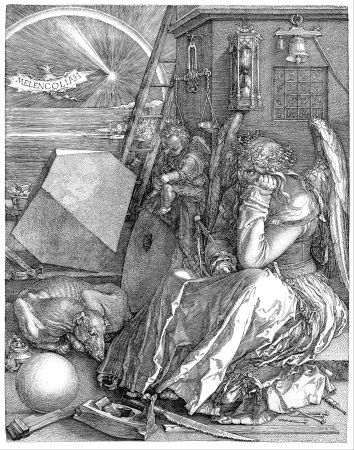 1514: Albrecht Dürer: Melencolia I [Northern Renaissance: Germany] In 1513-1514, German artist Albrecht Dürer created three copper engravings that have become known as the Master Engravings.  One of these was the 1514 engraving Melencolia I, prints of which may be found in museums all over the world (see first image, above).