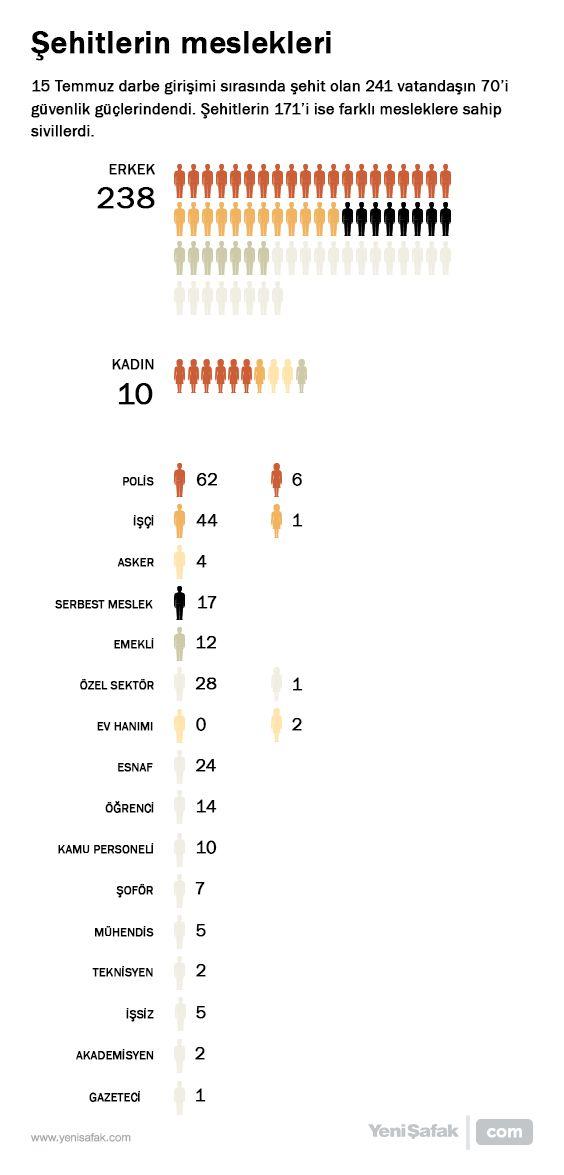 Şehitlerin meslek dağılımı Darbe girişiminde şehit olan 248 vatandaşın 70'i asker ve polisti. Darbecileri püskürtmek için sokaklara çıkan 171 şehit ise farklı mesleklere sahip sivil vatandaşlardı.