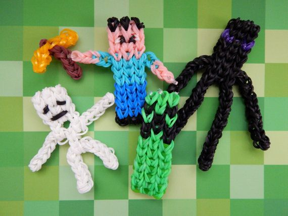 Minecraft Rainbow loom character set FREE by Loominginthedistance, $13.00