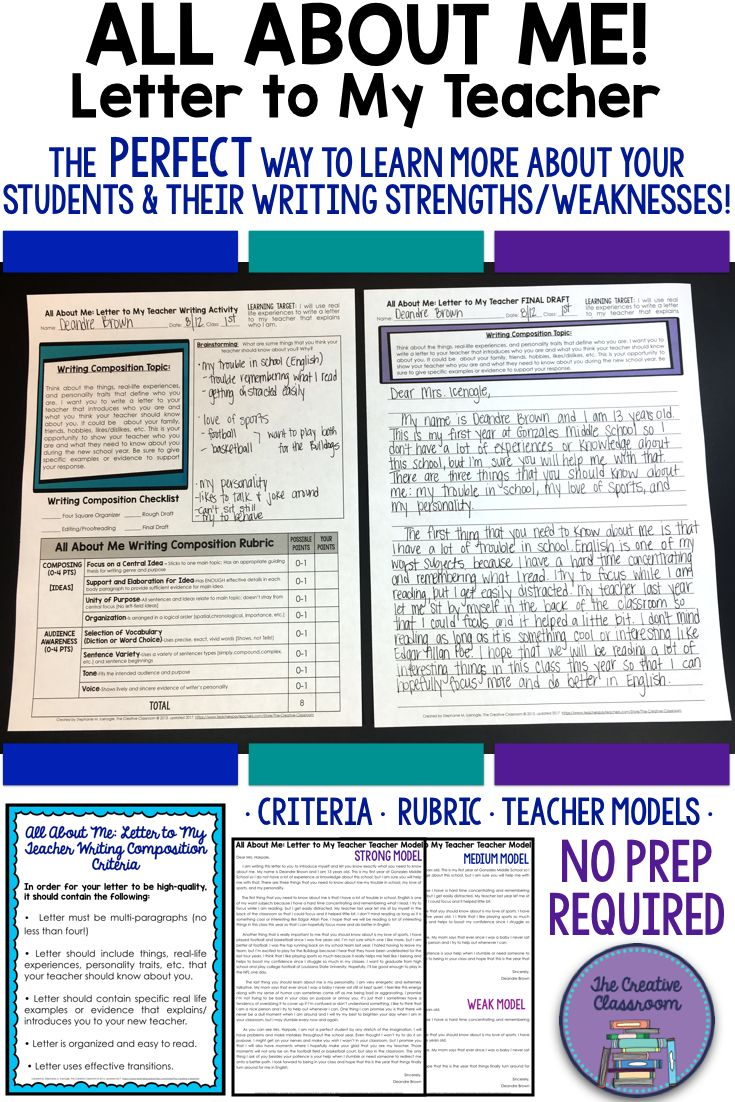 All About Me: Letter To My Teacher- Back to School NO PREP Writing Activity