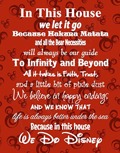 In This House We Do Disney - Poster Print Photo Quality - Made in USA - Disney Family House Rules - Ready to Frame - Frame not included (11x14 Red Background)