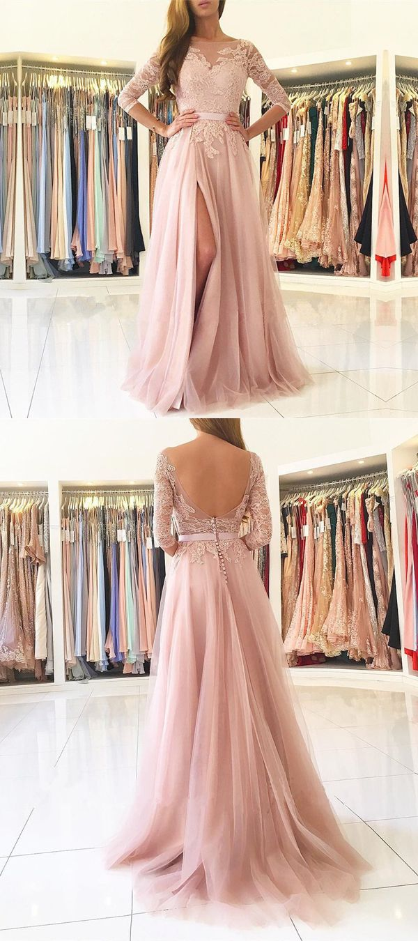 Pink Illusion Tulle Formal Gown, Long Sleeve Open Back Prom Dress With High Slit