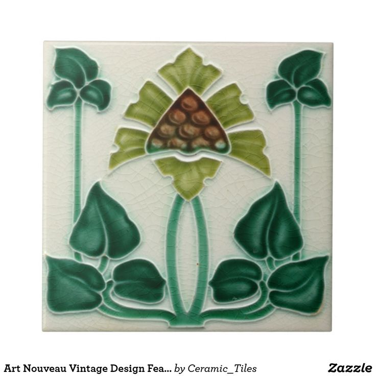 "Green, Brown and Cream Flower Art Nouveau Vintage ceramic tiles reproduced in either 4.25"" or 6"" sizes, great for DIY Kitchens, Backsplashes, fireplace surrounds, and bathrooms, with lots of designs and colors available in my zazzle store."