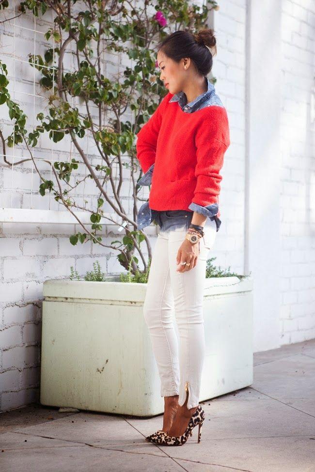 Calça branca + camisa jeans + vermelho + animal print:
