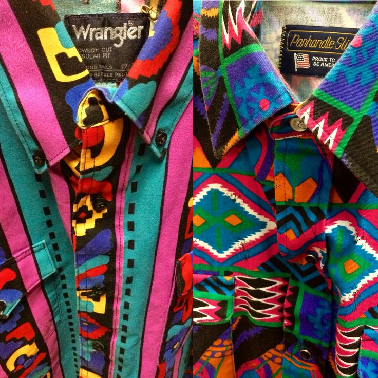 Throwback rodeo shirts. Colorful and crazy-cool. Wrangler and Panhandle Slim.