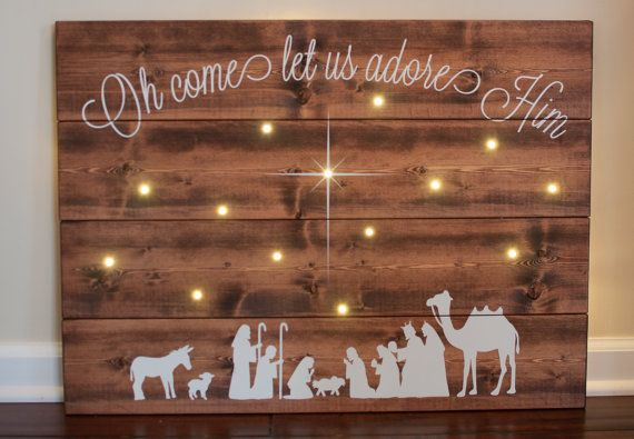 Hand painted wooden sign with battery operated LED lights. Made to order. Requires 3 AA batteries. Dimensions: approximately 22 in. by 30 in. Comes with two D-rings for easy hanging. Signs are hand painted and crafted from wood and therefore slight variations may occur from sign to sign.  This listing is for a Christmas pre-order and the sign will ship in 5-6 weeks