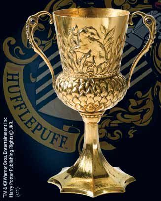 Hufflepuff Cup Prop Replica from Harry Potter and The Order Of The Phoenix. It is made by Noble Collection and is approximately 13 cm (5.1 in) high  http://harry-potter.minimodelfilmstuff.co.uk/harry-potter-collectable/harry-potter-and-the-order-of-the-phoenix-hufflepuff-cup-replica-noble-collection-nn8689