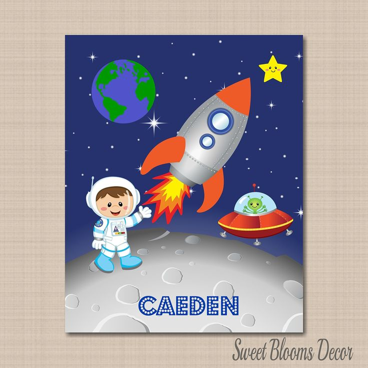 space nursery dcorspace room dcorout of this world wall artspace kids wall art astronaut wall artouterspace wall artspace room decor 8x10 unframed