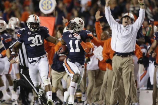 the '13 Auburn Tigers 109yd run-back a missed FG in the *final play of the 'Iron Bowl' sending Auburn to the National Championship game & ending Alabama's 3rd championship run of 2-out-of 3 titles in college football. Both teams lost their bowl games{Auburn to Florida St. & Alabama took a beating from Oklahoma Sooner's}lol
