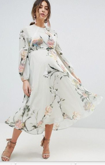 Beautiful ivory, floral dress perfect for a Spring Pregnancy | Hope and Ivy Maternity Hope & Ivy Maternity Long Sleeve Printed Dress With Lace Trim And Ruffle Open Back Detail | maternity dress | maternity fashion | maternity clothes | maternity outfit | maternity wardrobe | maternity style | floral maternity | spring maternity | summer maternity | pregnancy | bump | #ad
