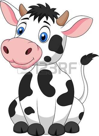 Cute cow cartoon sitting photo