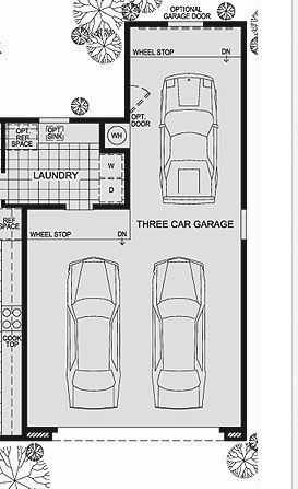 Tandem Garage - three car + workshop/office.  Rotate back cars and enlarge. Mudroom have breezeway to house