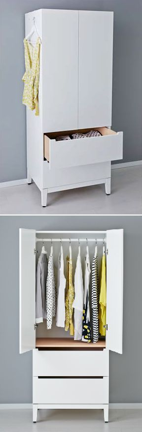 NORDLI wardrobe - a small closet and chest of drawers in one clean and modern piece.