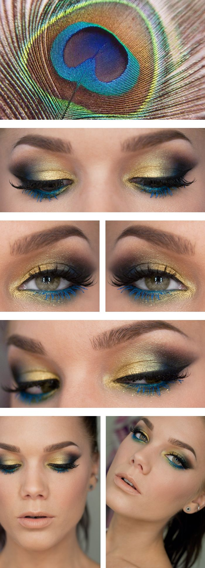 """Today's Look : """"Inspired by a peacock feather"""" -Linda Hallberg (the name says it all, a stunning look, for sure! Gold, teal, blue, green, smoked out) 05/19/13 -- I love this look, except for the blue mascara. I'd just leave it black."""